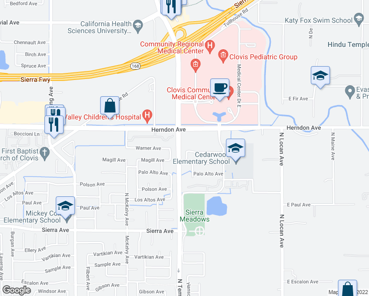 map of restaurants, bars, coffee shops, grocery stores, and more near 6772-6960 North Temperance Avenue in Clovis