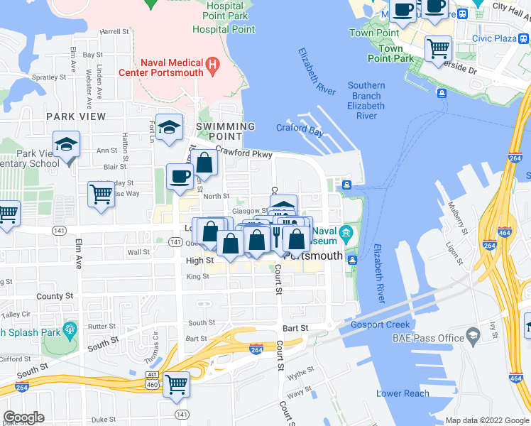 map of restaurants, bars, coffee shops, grocery stores, and more near 409 Glasgow Street in Portsmouth