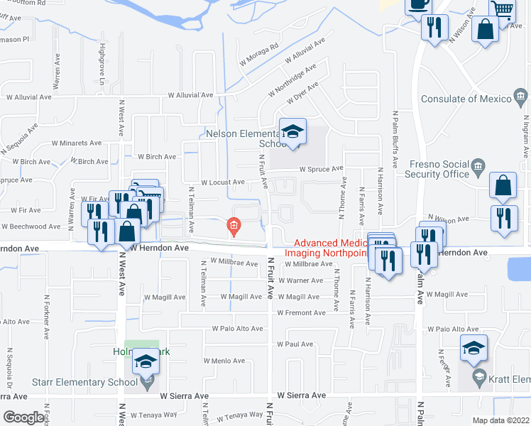 map of restaurants, bars, coffee shops, grocery stores, and more near 7095 North Fruit Avenue in Fresno