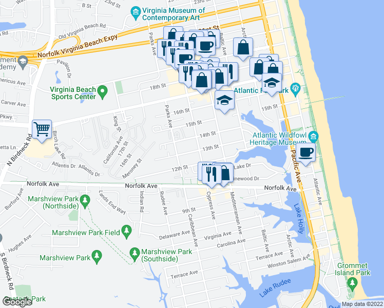map of restaurants, bars, coffee shops, grocery stores, and more near 708 13th Street in Virginia Beach