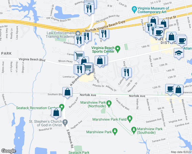 map of restaurants, bars, coffee shops, grocery stores, and more near 226 Birch Lake Road in Virginia Beach