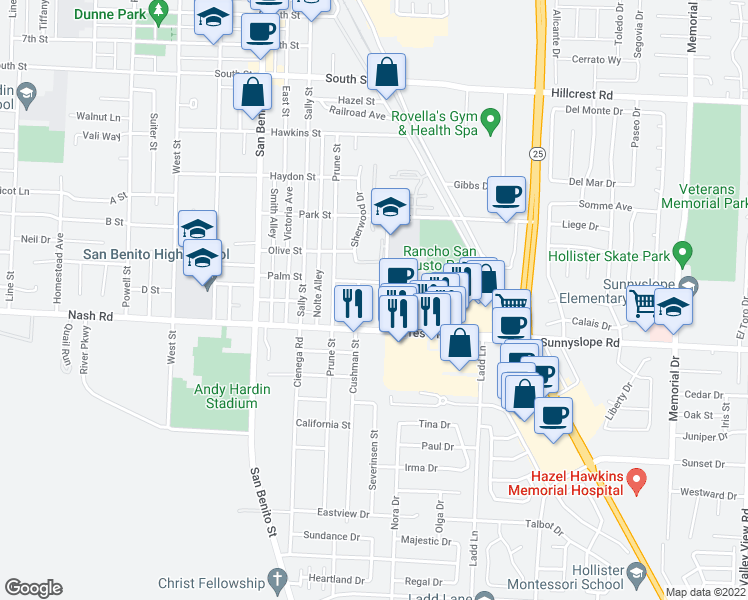 map of restaurants, bars, coffee shops, grocery stores, and more near 1428 Rancho Drive in Hollister