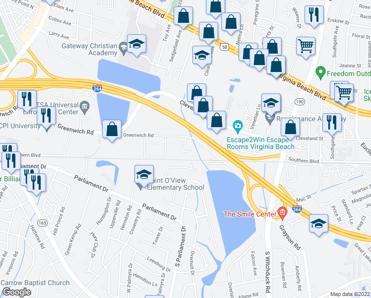 map of restaurants, bars, coffee shops, grocery stores, and more near 5305 Bleecker Street in Virginia Beach