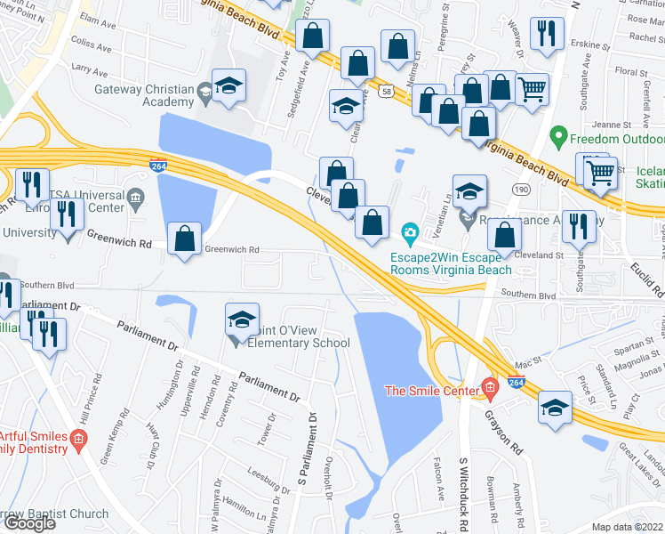 map of restaurants, bars, coffee shops, grocery stores, and more near Bowery Street in Virginia Beach