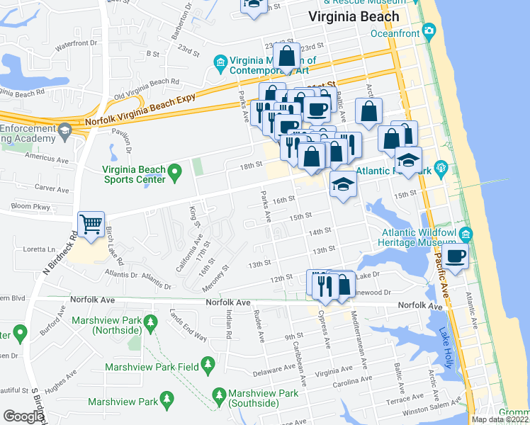 map of restaurants, bars, coffee shops, grocery stores, and more near 1522 Parks Avenue in Virginia Beach