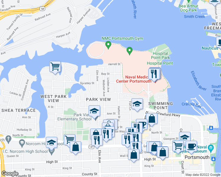 map of restaurants, bars, coffee shops, grocery stores, and more near 1028 Naval Avenue in Portsmouth