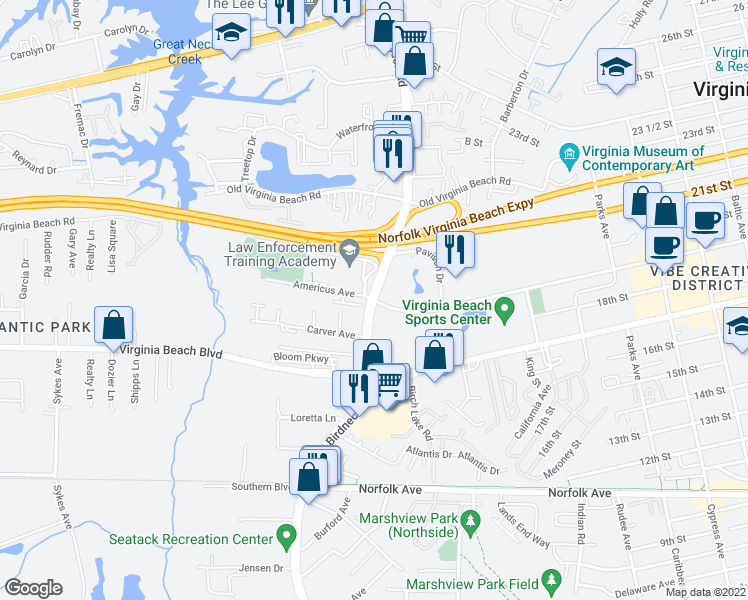 map of restaurants, bars, coffee shops, grocery stores, and more near North Birdneck Road & 19th Street in Virginia Beach