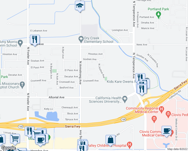 map of restaurants, bars, coffee shops, grocery stores, and more near 2294 Decatur Avenue in Clovis