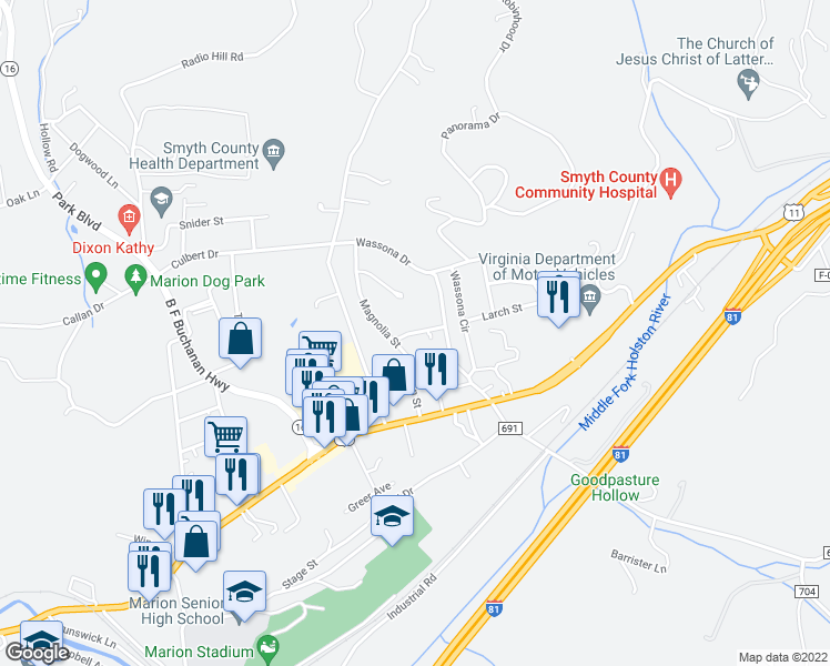 map of restaurants, bars, coffee shops, grocery stores, and more near Hemlock Street in Marion
