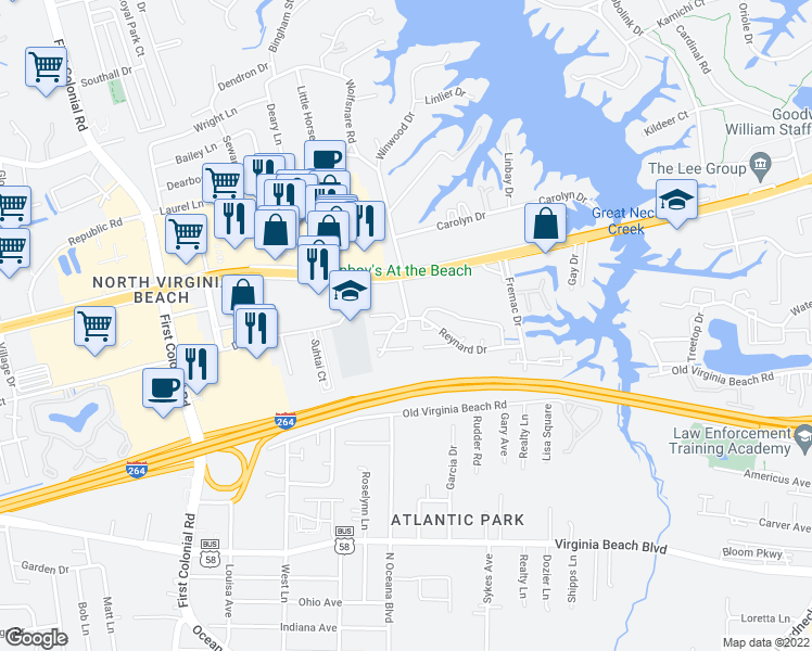 map of restaurants, bars, coffee shops, grocery stores, and more near 1421 Automne Circle in Virginia Beach
