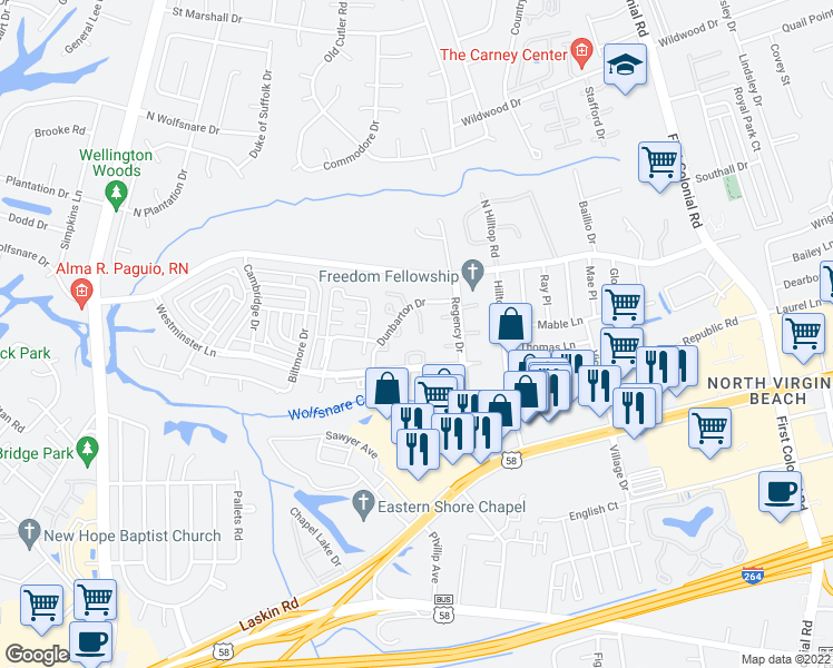 map of restaurants, bars, coffee shops, grocery stores, and more near 2100 Westminster Lane in Virginia Beach