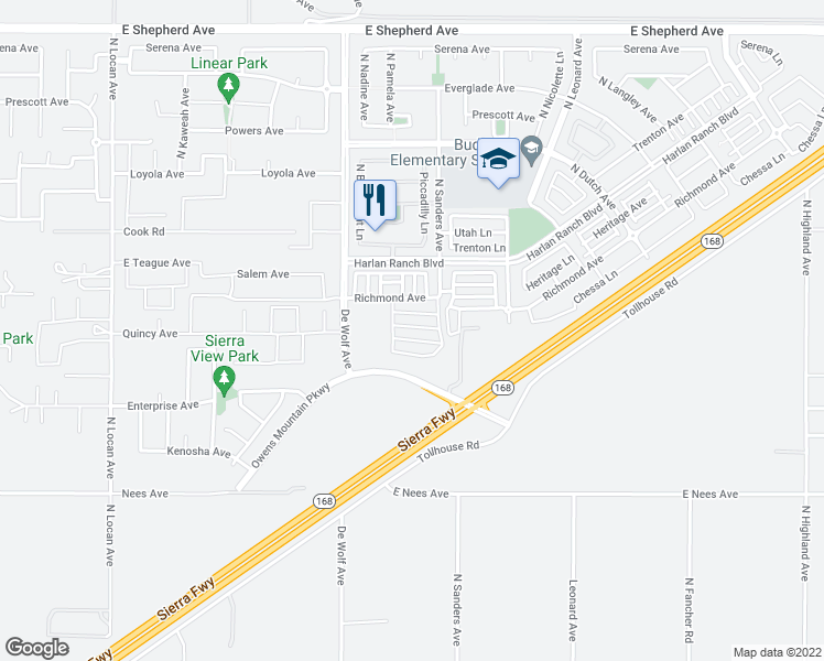 map of restaurants, bars, coffee shops, grocery stores, and more near 3532 Infusion Way in Clovis
