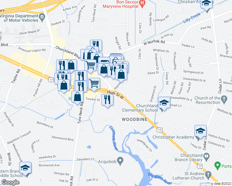 map of restaurants, bars, coffee shops, grocery stores, and more near 5608 Raylaine Drive in Portsmouth