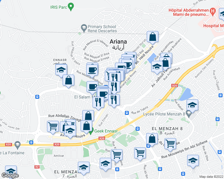 map of restaurants, bars, coffee shops, grocery stores, and more near Avenue Hédi Nouira in Ariana