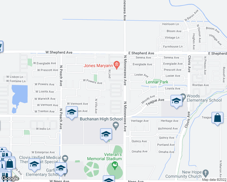 map of restaurants, bars, coffee shops, grocery stores, and more near 77 West Tivoli Lane in Clovis