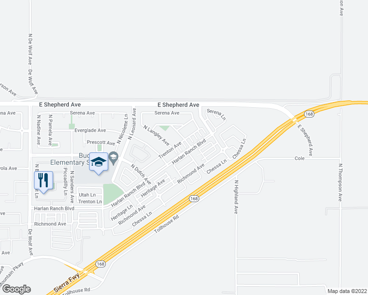 map of restaurants, bars, coffee shops, grocery stores, and more near 4079 Harlan Ranch Boulevard in Clovis