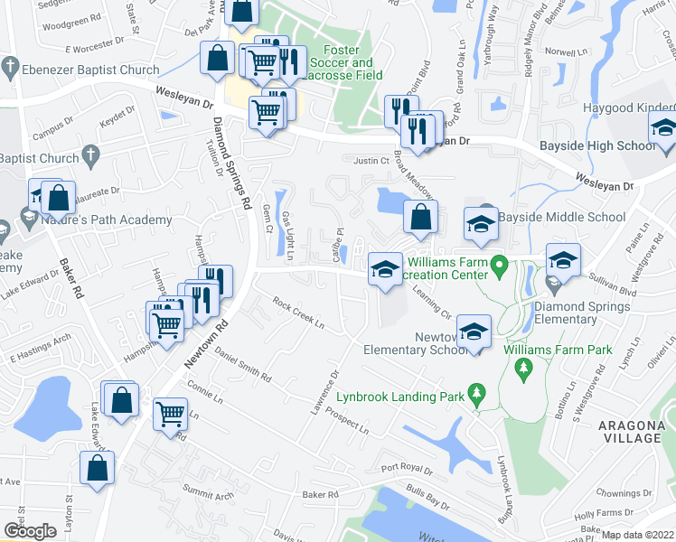 map of restaurants, bars, coffee shops, grocery stores, and more near Newtown Rd & Caribe Pl in Virginia Beach