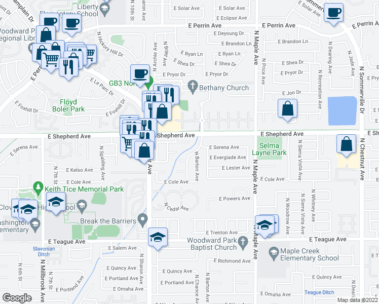 map of restaurants, bars, coffee shops, grocery stores, and more near 8891 North Chance Avenue in Fresno