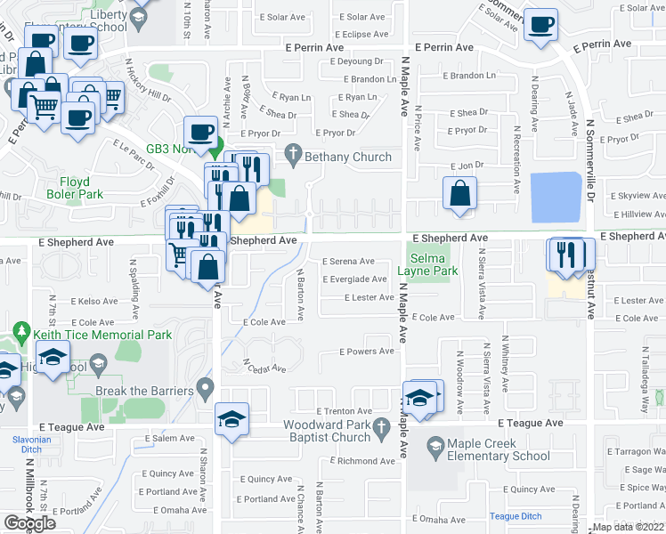 map of restaurants, bars, coffee shops, grocery stores, and more near 1797 East Serena Avenue in Fresno