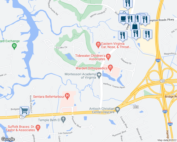map of restaurants, bars, coffee shops, grocery stores, and more near 5207 Bartons Creek Court in Suffolk