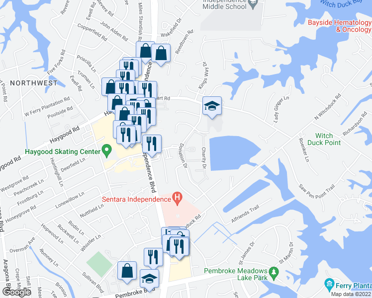 map of restaurants, bars, coffee shops, grocery stores, and more near 945 Donation Drive in Virginia Beach