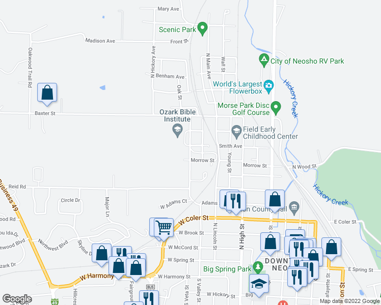 map of restaurants, bars, coffee shops, grocery stores, and more near 803 Smith Avenue in Neosho