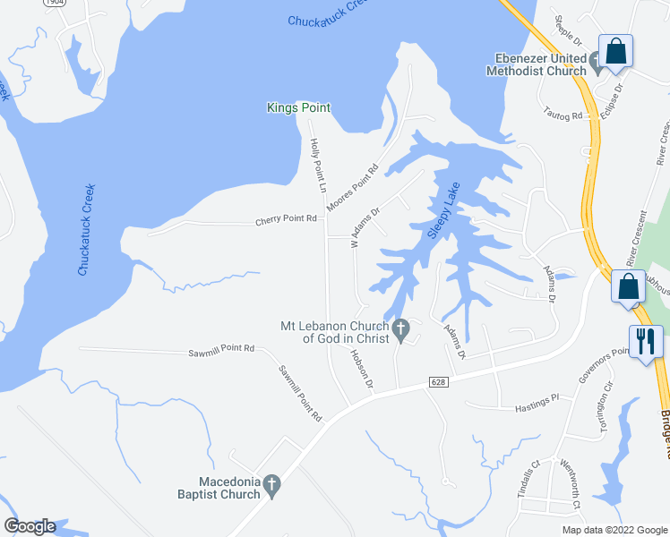 map of restaurants, bars, coffee shops, grocery stores, and more near 1628 Moores Point Road in Suffolk