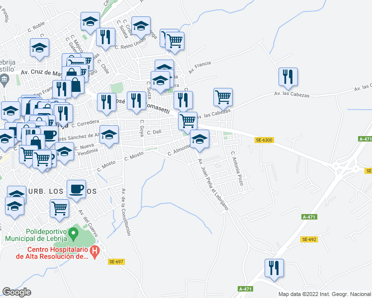 map of restaurants, bars, coffee shops, grocery stores, and more near 18A Calle Río Quema in Lebrija