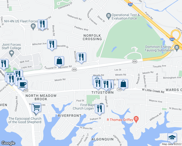 map of restaurants, bars, coffee shops, grocery stores, and more near Matthew Henson Street in Norfolk