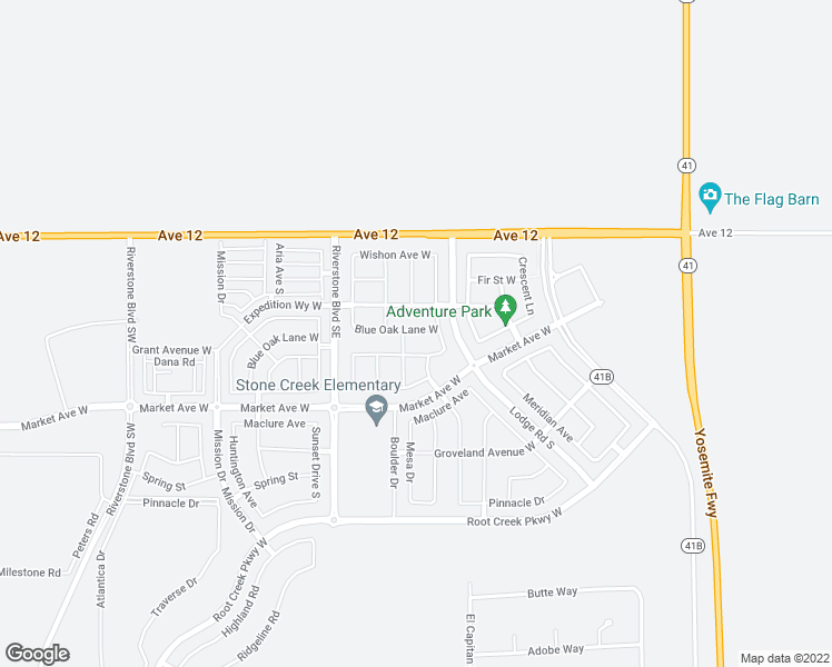 map of restaurants, bars, coffee shops, grocery stores, and more near 576 Blue Oak Lane in Madera