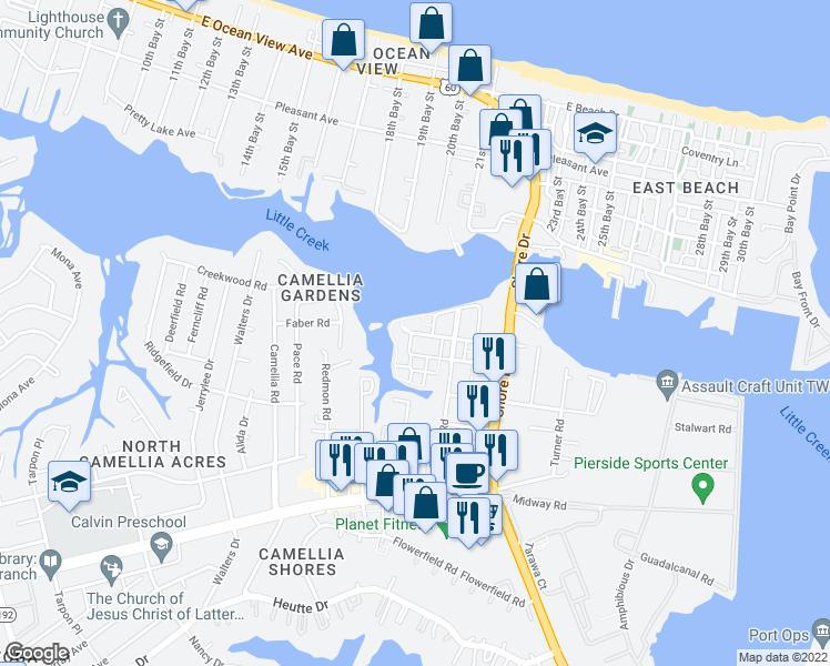 map of restaurants, bars, coffee shops, grocery stores, and more near 4087 Harbor Walk Avenue in Norfolk