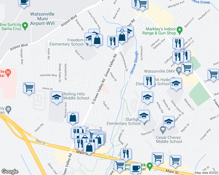 map of restaurants, bars, coffee shops, grocery stores, and more near Firethorne Way in Watsonville