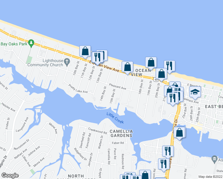 map of restaurants, bars, coffee shops, grocery stores, and more near 9555 15th Bay Street in Norfolk