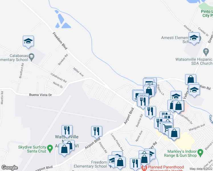 map of restaurants, bars, coffee shops, grocery stores, and more near 2168 Freedom Boulevard in Watsonville