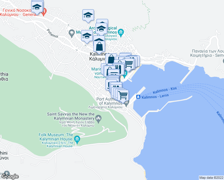 map of restaurants, bars, coffee shops, grocery stores, and more near in Kalimnos