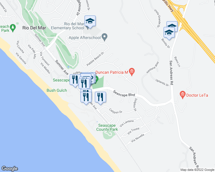 map of restaurants, bars, coffee shops, grocery stores, and more near 117 Tiburon Court in Aptos