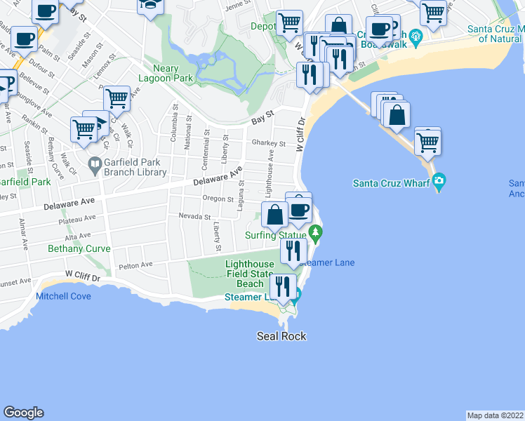 map of restaurants, bars, coffee shops, grocery stores, and more near 223 Lighthouse Avenue in Santa Cruz
