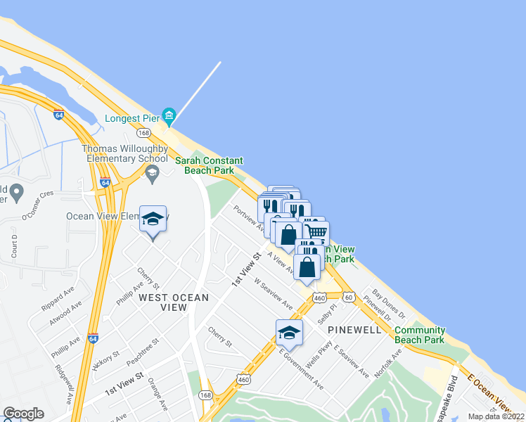map of restaurants, bars, coffee shops, grocery stores, and more near 233 West Ocean View Avenue in Norfolk