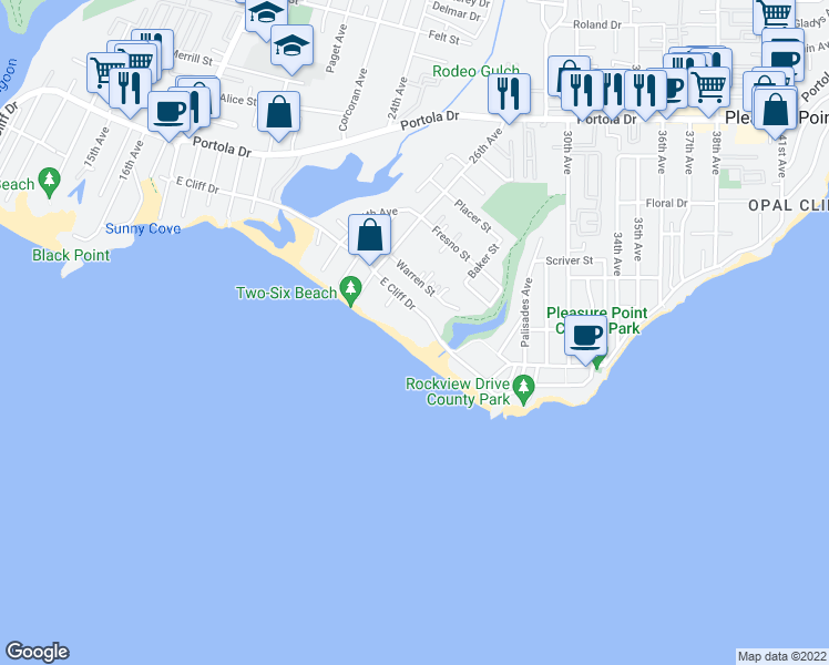 map of restaurants, bars, coffee shops, grocery stores, and more near 2-2750 E Cliff Dr in Santa Cruz