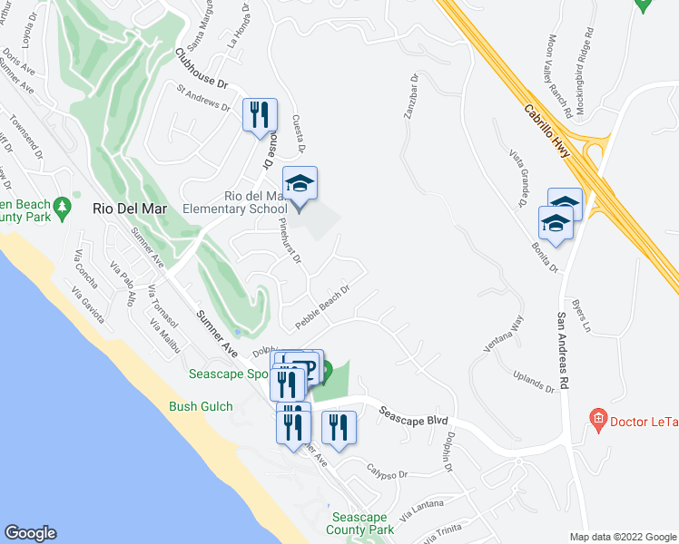 map of restaurants, bars, coffee shops, grocery stores, and more near 130 Thunderbird Court in Aptos