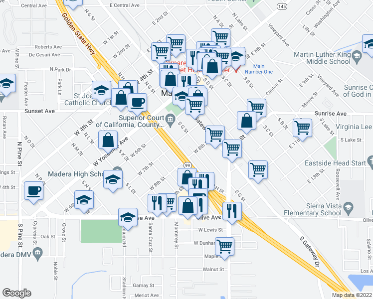 map of restaurants, bars, coffee shops, grocery stores, and more near 317 South H Street in Madera