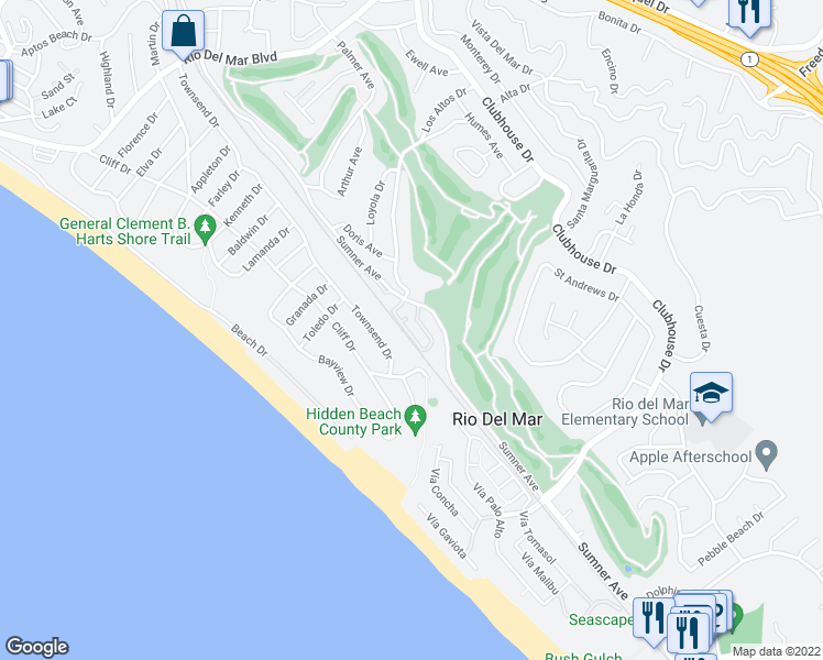 map of restaurants, bars, coffee shops, grocery stores, and more near 288 Dry Creek Road in Aptos
