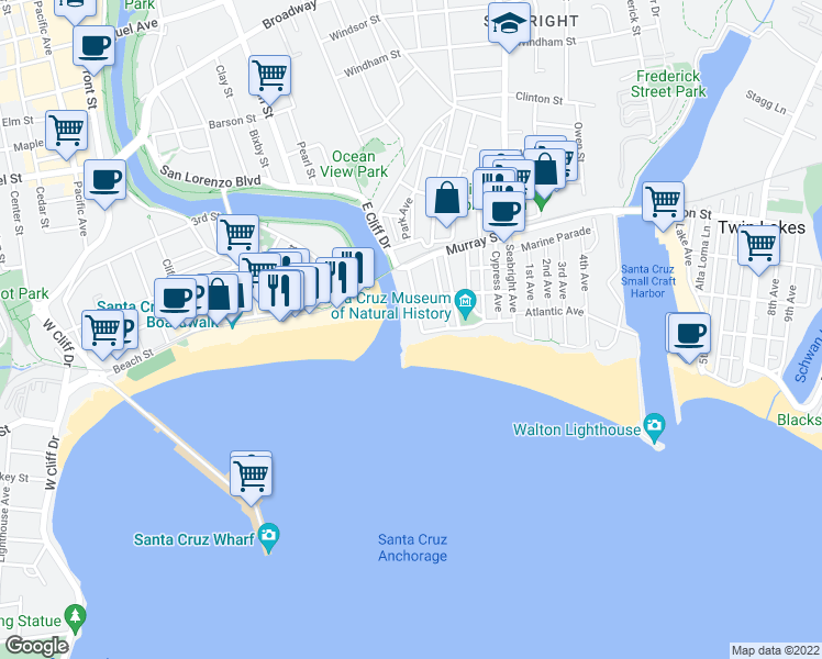 map of restaurants, bars, coffee shops, grocery stores, and more near 1156 East Cliff Drive in Santa Cruz