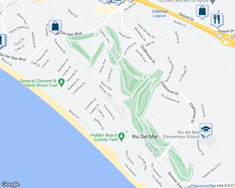 map of restaurants, bars, coffee shops, grocery stores, and more near 314 Los Altos Drive in Aptos