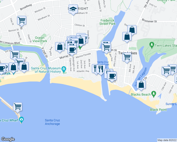 map of restaurants, bars, coffee shops, grocery stores, and more near Atlantic Avenue in Santa Cruz
