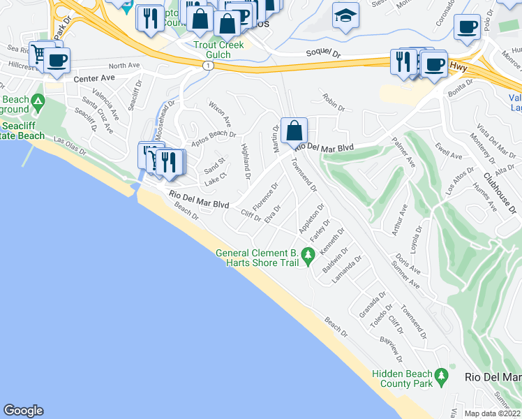 map of restaurants, bars, coffee shops, grocery stores, and more near 206 Florence Drive in Aptos