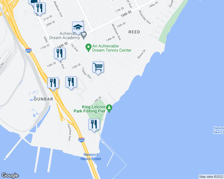 map of restaurants, bars, coffee shops, grocery stores, and more near 700 Waterfront Circle in Newport News