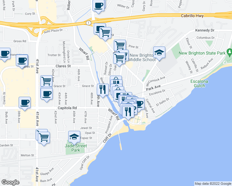 map of restaurants, bars, coffee shops, grocery stores, and more near 434 Blue Gum Ave in Capitola