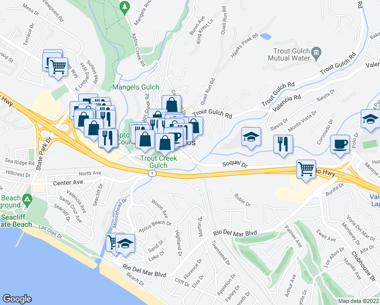 map of restaurants, bars, coffee shops, grocery stores, and more near 8065 Aptos Street in Aptos
