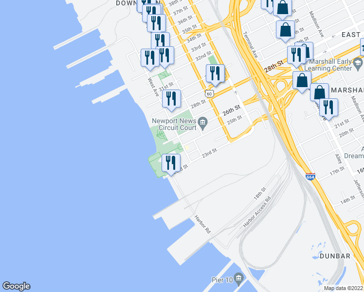 map of restaurants, bars, coffee shops, grocery stores, and more near West Avenue in Newport News